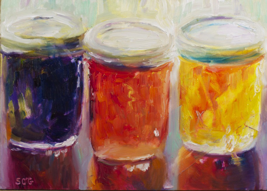 """Jam Jars: Reflections and Edges"" original fine art by Sue Churchgrant"