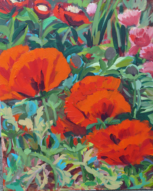 """Beacon Hill Park Poppies, acrylic, 16x20"" original fine art by Darlene Young"