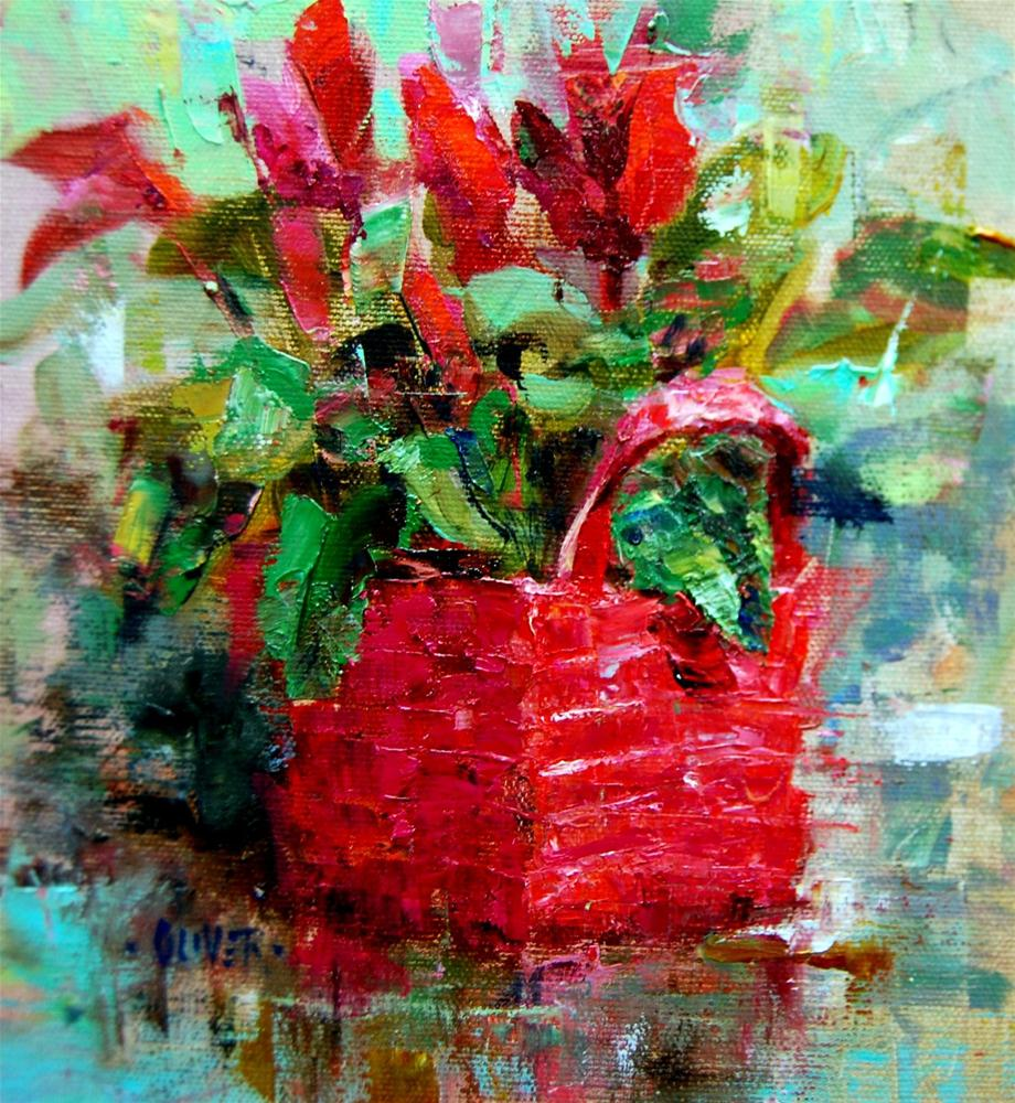 """Cyclamen from a Friend"" original fine art by Julie Ford Oliver"