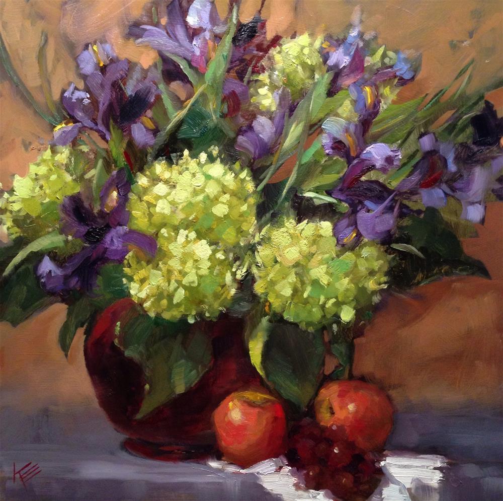 """Hydrangeas & Irises"" original fine art by Krista Eaton"