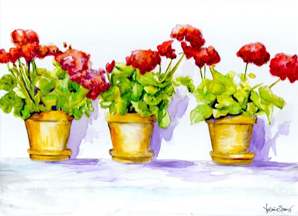 """""""Sunny Geraniums"""" original fine art by Valorie Sams"""