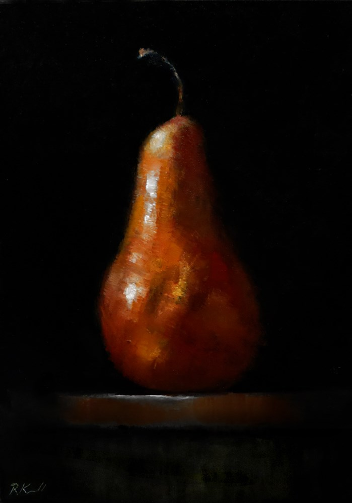 """A Pear on the Table"" original fine art by Bob Kimball"