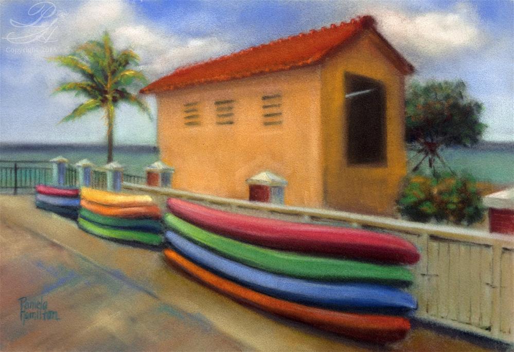 """Kayaks"" original fine art by Pamela Hamilton"