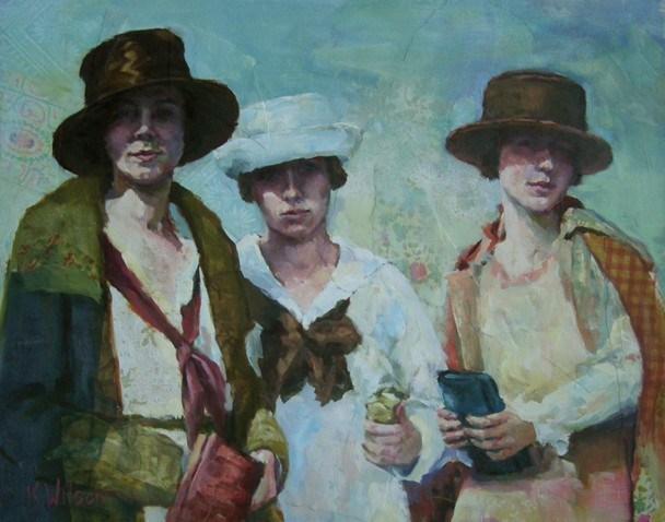 """Clutches and Hats"" original fine art by Katie Wilson"