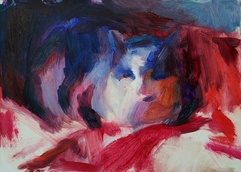 """""""Cat on Red Blanket"""" original fine art by Sharon Savitz"""