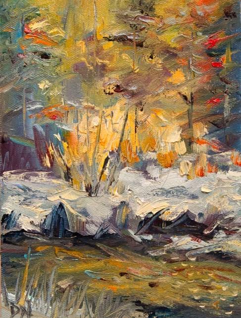 """ARTOUTWEST WINTER SCENE Landscape Study oil painting"" original fine art by Diane Whitehead"