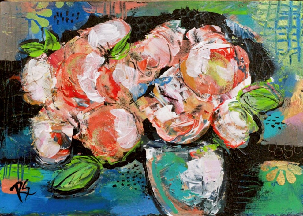 """""""The Gift of Flowers #1"""" original fine art by Roberta Schmidt ArtcyLucy"""