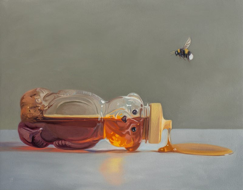 """Bumble Bee and Spilled Honey"" original fine art by Lauren Pretorius"
