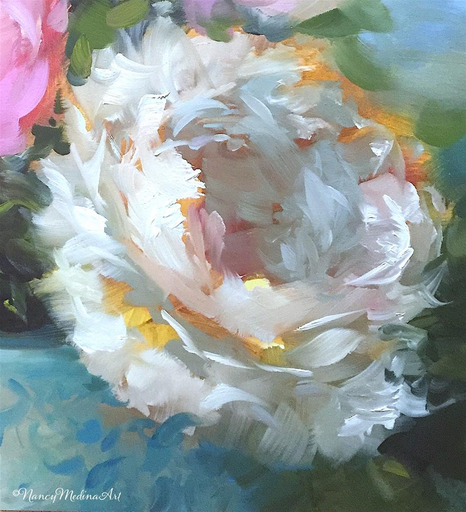 """""""May 11 Is Coming and Fall to Earth Peonies"""" original fine art by Nancy Medina"""