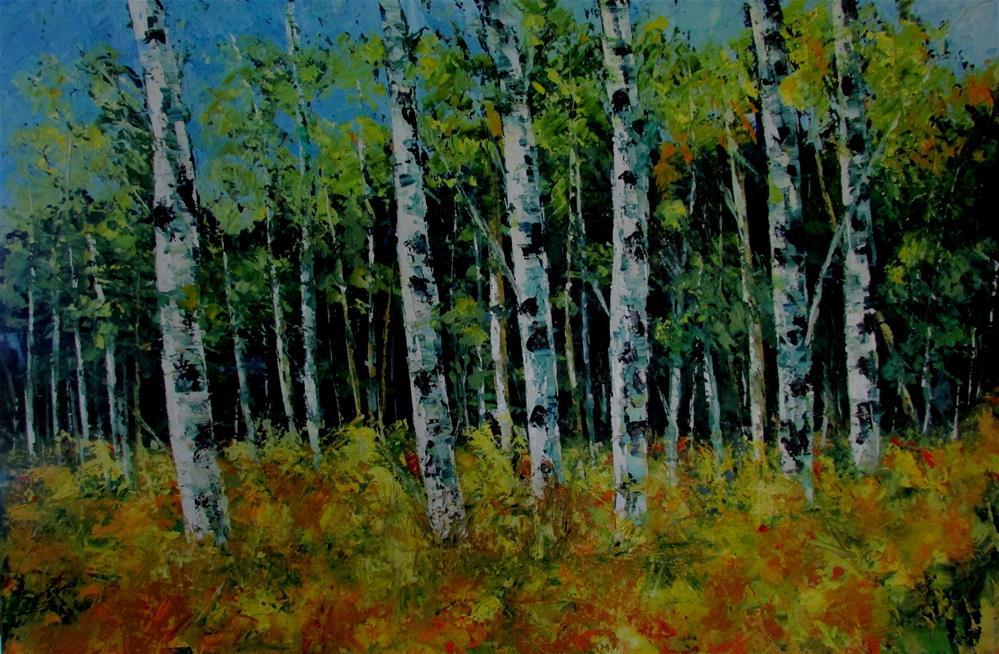 """""""20 x 30 inch oil Ode to Spring"""" original fine art by Linda Yurgensen"""