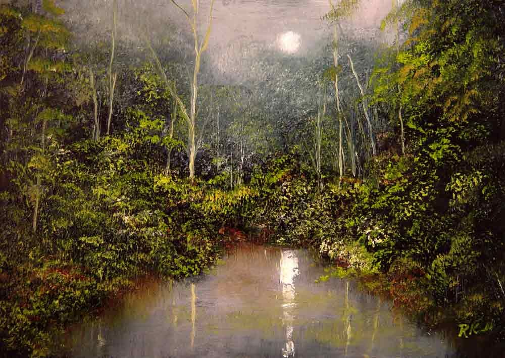"""Moonlight Glow"" original fine art by Bob Kimball"