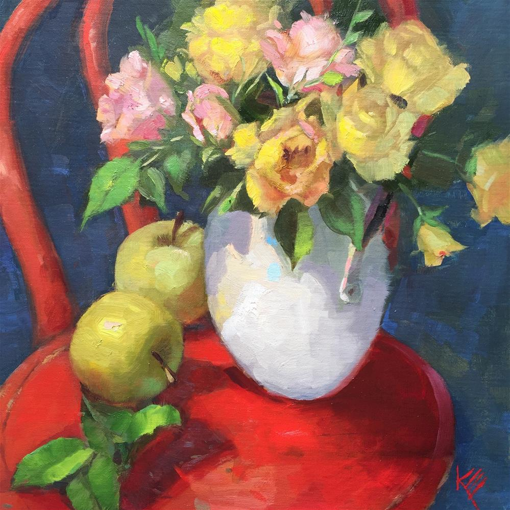 """""""Roses on Red Chair"""" original fine art by Krista Eaton"""
