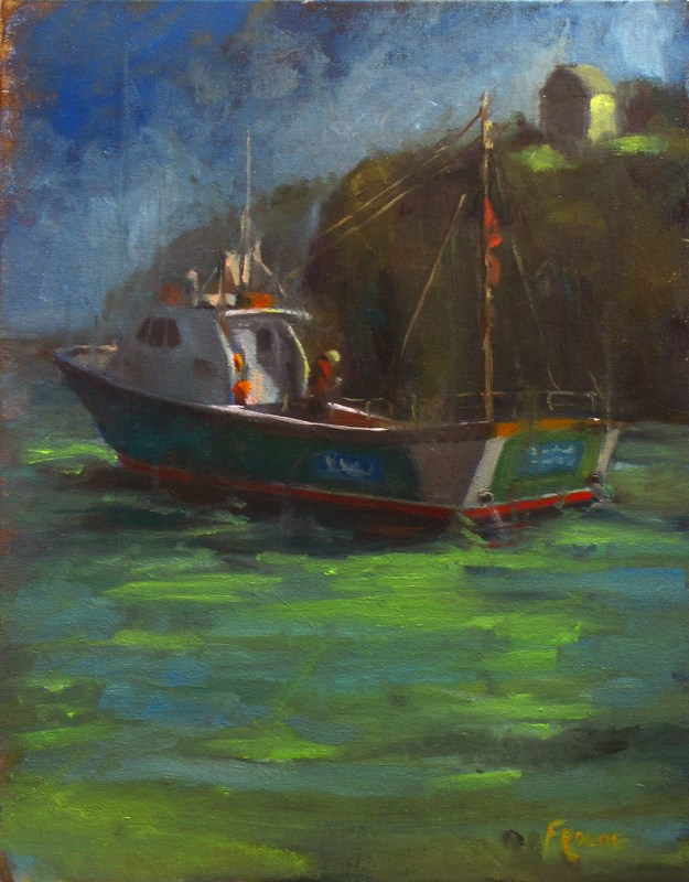 """Moody trawler"" original fine art by Dave Froude"