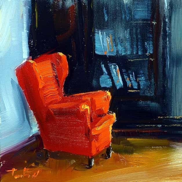 """red armchair"" original fine art by Jurij Frey"