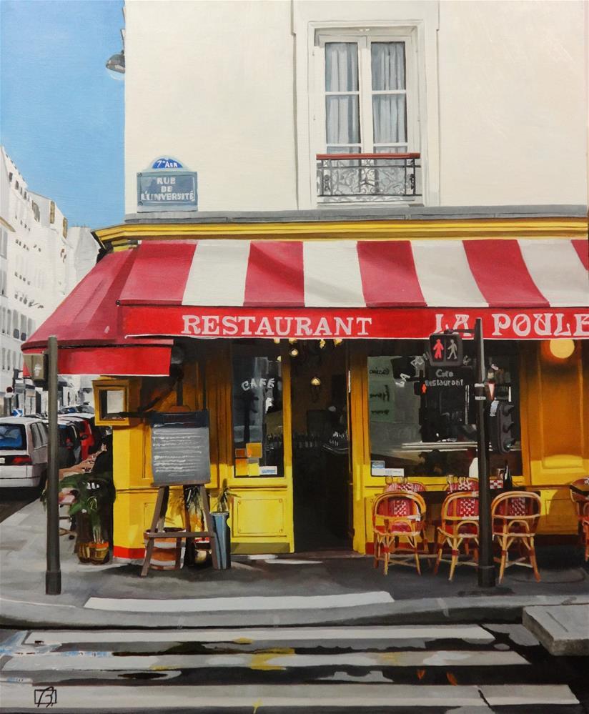 """""""Cafe La Poule au Pot"""" original fine art by Andre Beaulieu"""