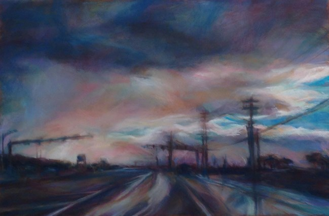 """""""RAINY EVENING - 8 x 12 pastel landscape by Susan E. Roden"""" original fine art by Susan Roden"""