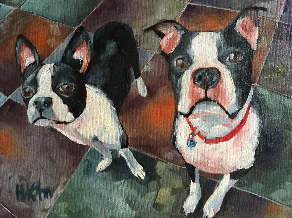 """Boston Terriers"" original fine art by Hallie Kohn"