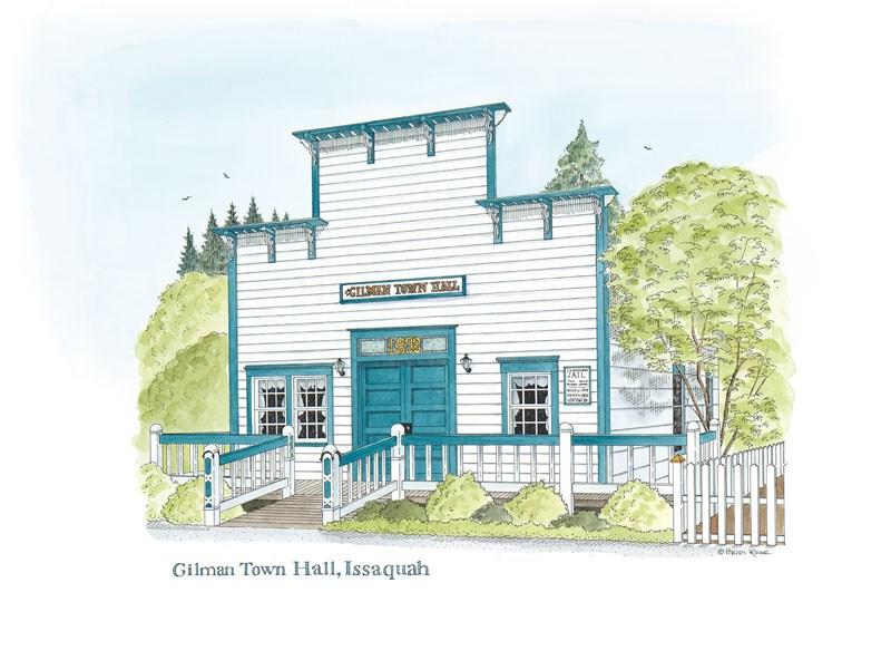 """Gilman Town hall"" original fine art by Heidi Rose"