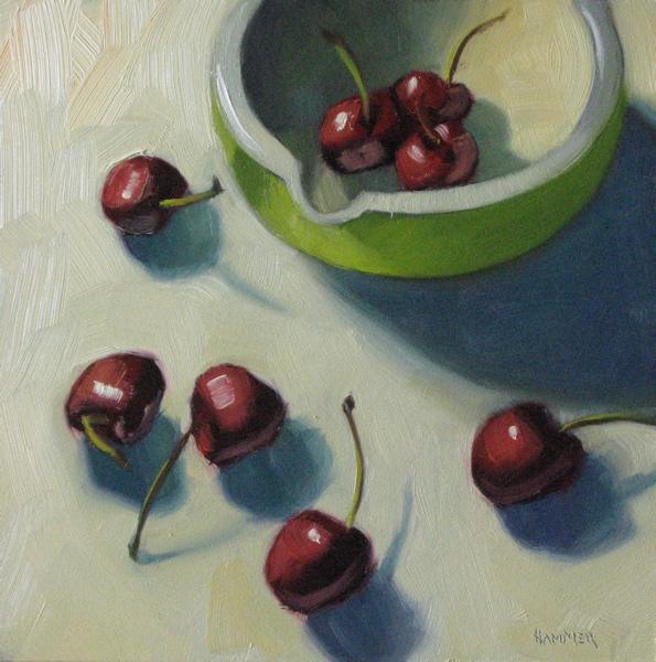"""Laughing cherries 6x6 oil"" original fine art by Claudia Hammer"
