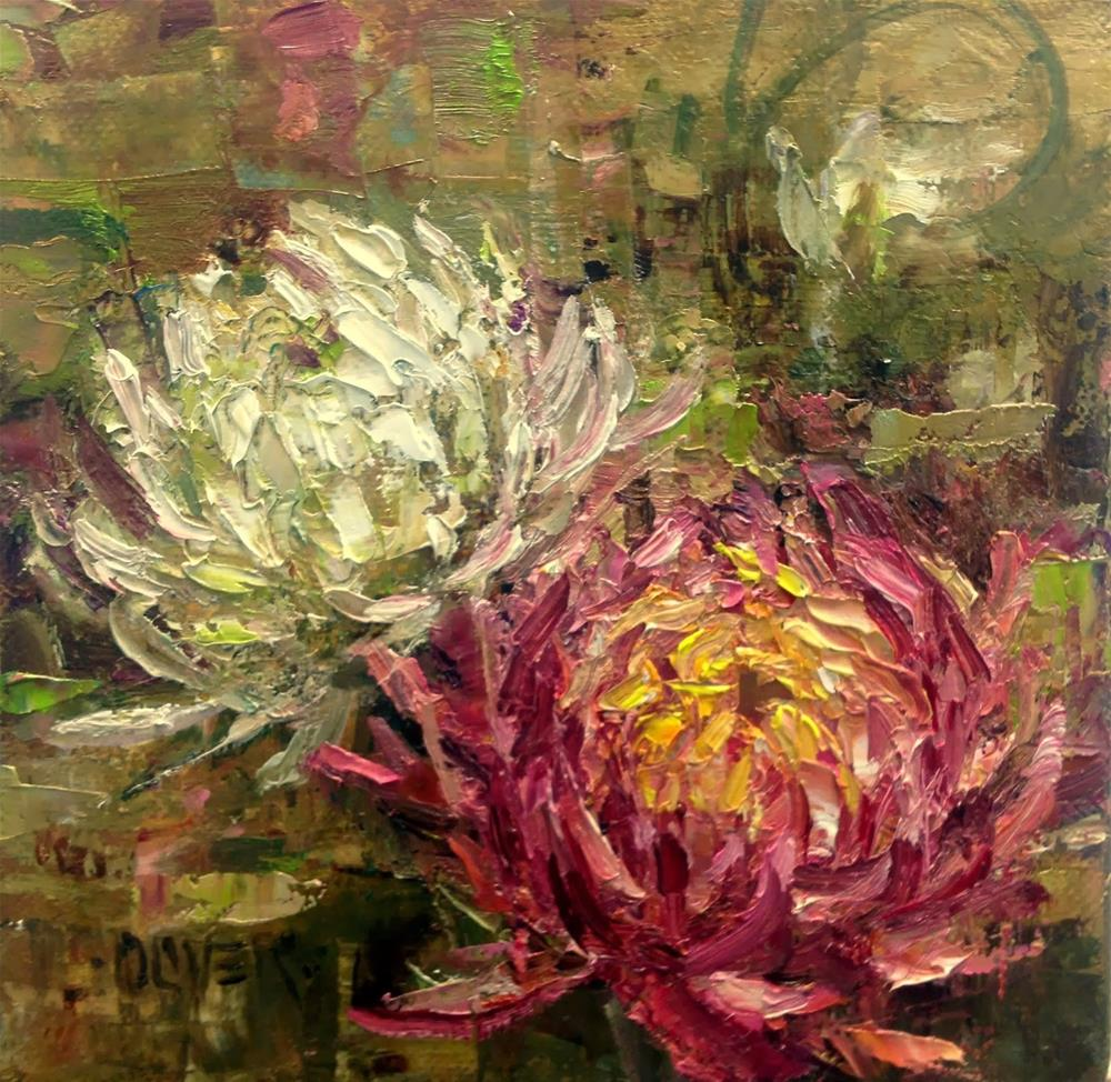 """""""A Couple of  Mums"""" original fine art by Julie Ford Oliver"""
