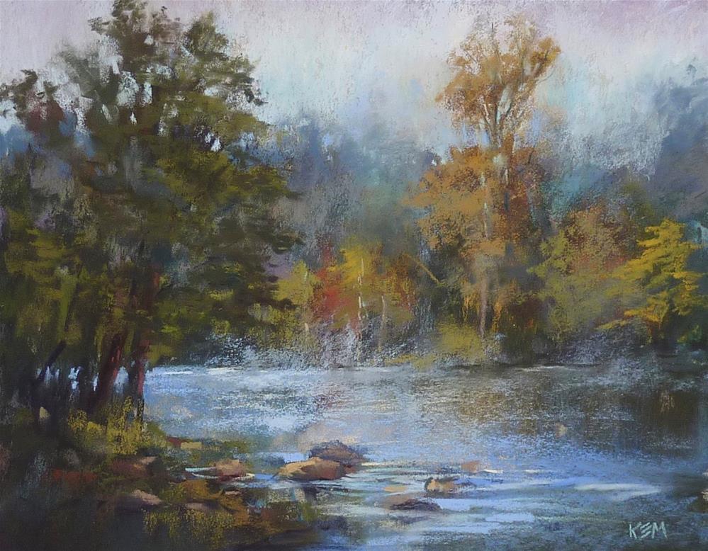 """A Lunchtime Demo: Mist on the River!"" original fine art by Karen Margulis"