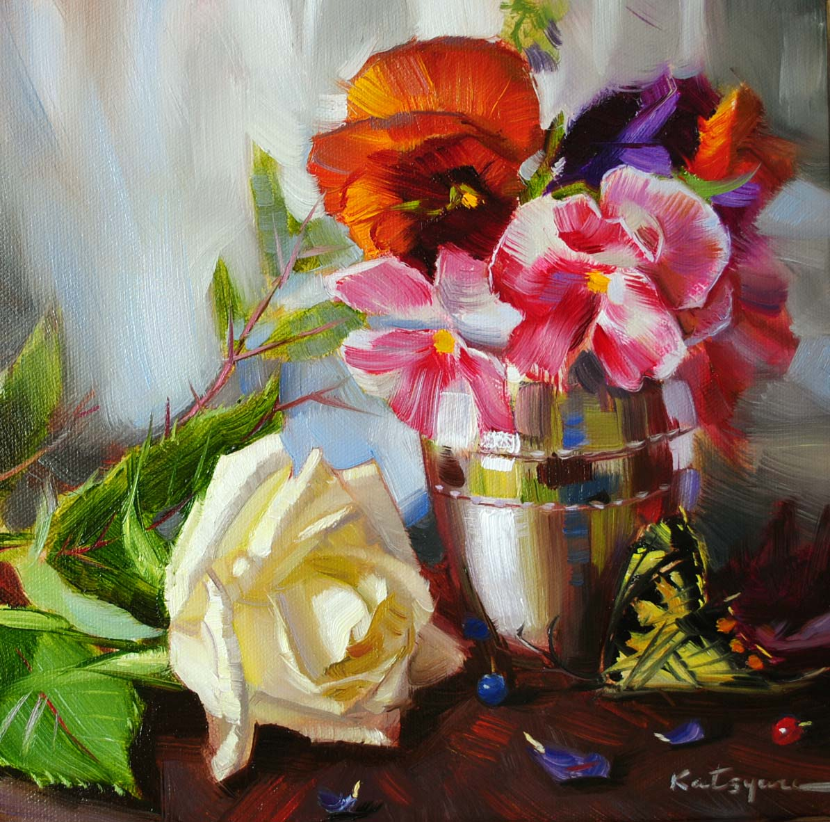 """November Flowers"" original fine art by Elena Katsyura"