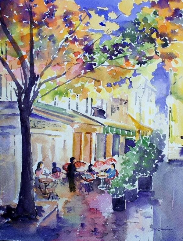 """Night Cafe, Paris"" original fine art by Lisa Fu"