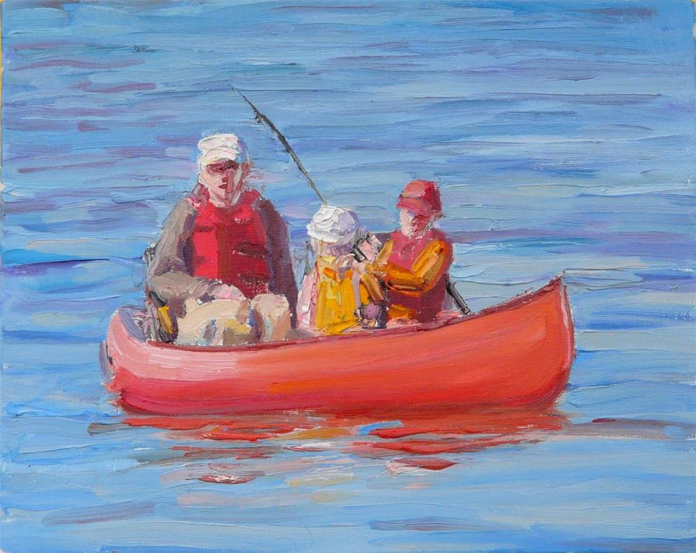 """""""Fishing With Dad,figures,oil painting,x10,price$400"""" original fine art by Joy Olney"""