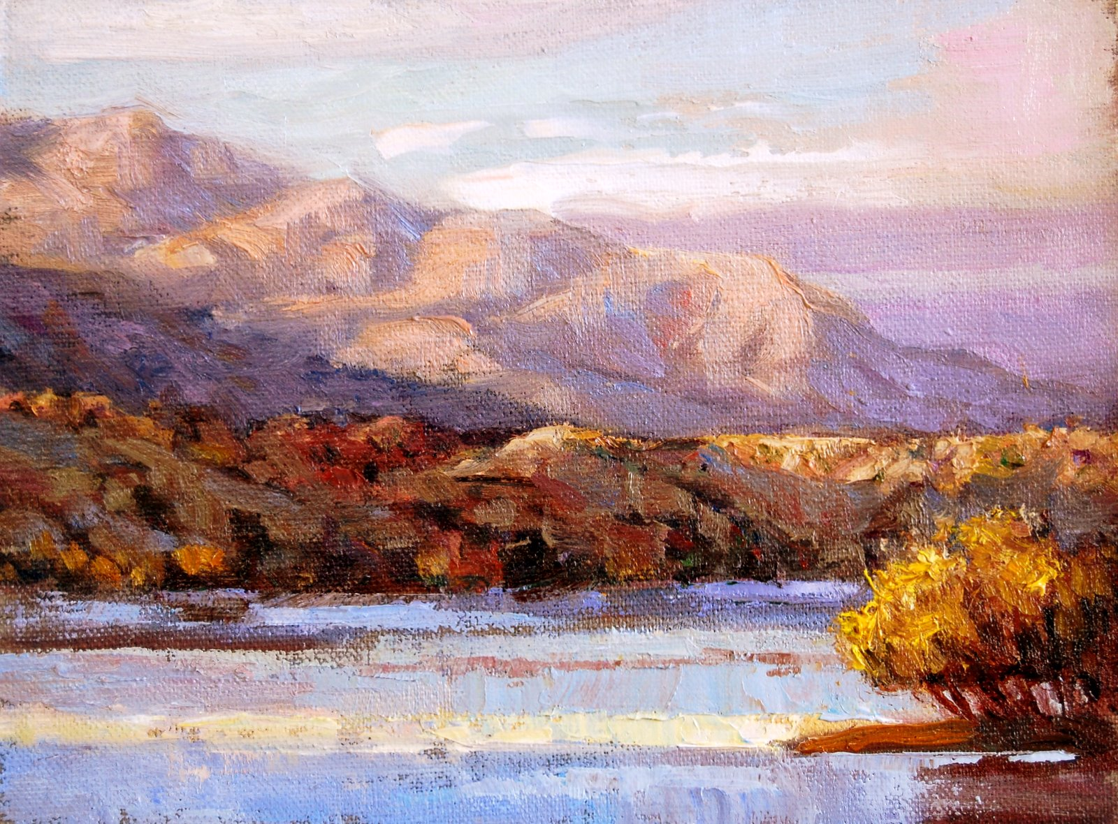 """""""Ray of Light on the Rio."""" original fine art by Julie Ford Oliver"""