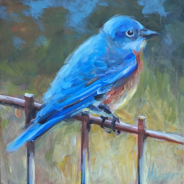 """Bluebird of Happiness"" original fine art by Mary Pargas"