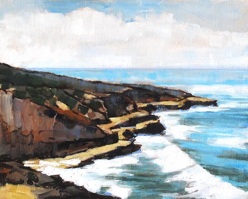 """""""Point Loma Sea Cliffs Plein Air"""" original fine art by Kevin Inman"""