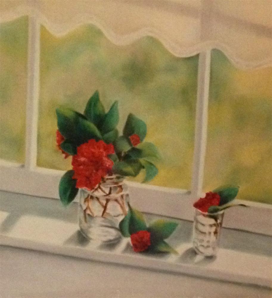 """Camelia on the Windowsill"" original fine art by Karen Collins"