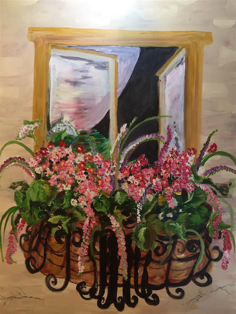 """""""Window boxes & Iron basket"""" original fine art by Yvonne Snead"""