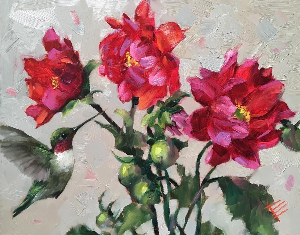 """Hummingbird & Dahlias "" original fine art by Krista Eaton"