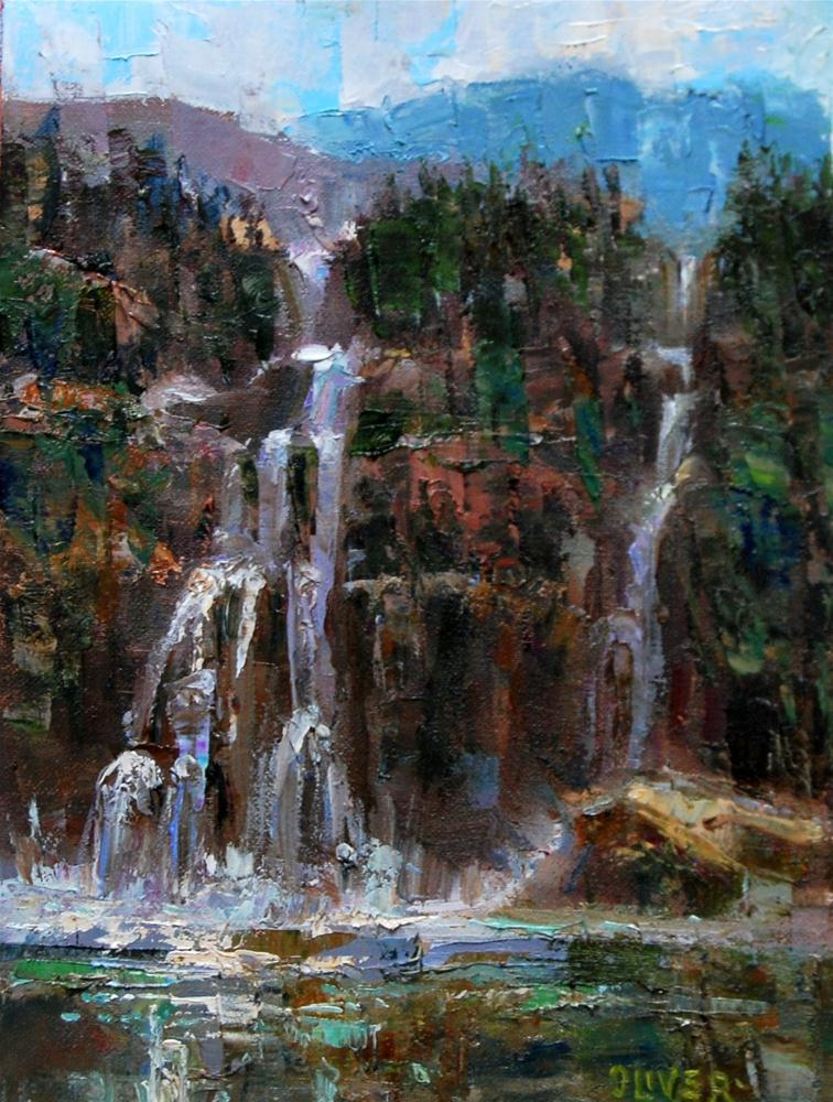 """Run-off Waterfalls - Yellowstone."" original fine art by Julie Ford Oliver"