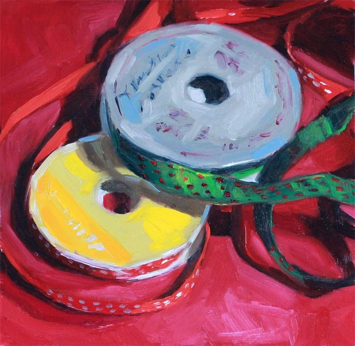 """Holiday Cheer: Printed Ribbons"" original fine art by Nealy May Riley"