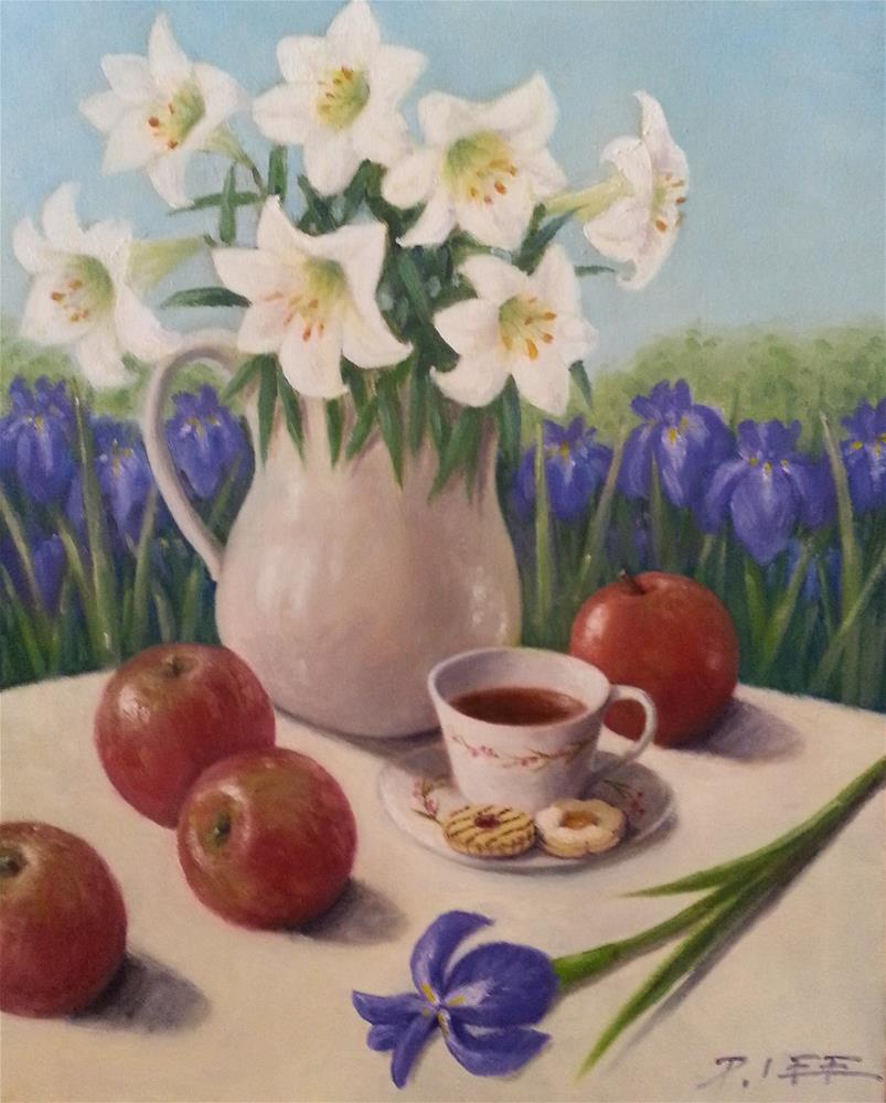 """""""Lilies and Irises"""" original fine art by Peter Lee"""