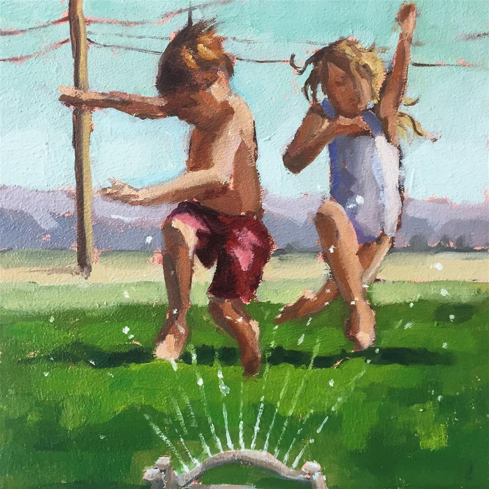 """Running in the Sprinklers"" original fine art by Lisa Sotero"