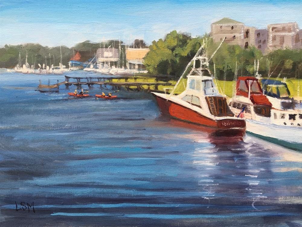 """Red Boat, River Bend, Branford, CT"" original fine art by Linda Marino"