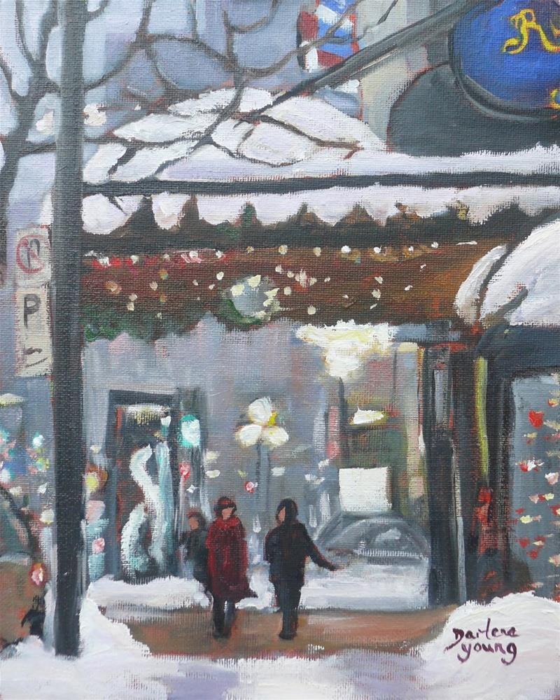 """1079 The Ritz, Montreal Winter Scene, 8x10, oil on board"" original fine art by Darlene Young"