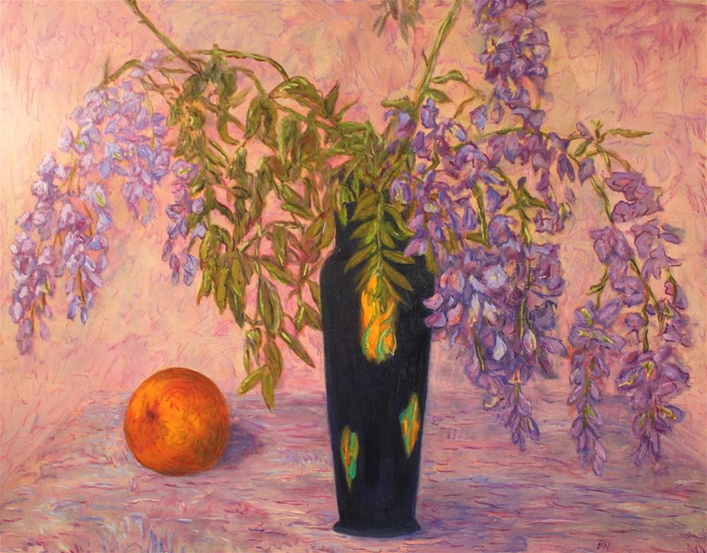 """Black Vase with Wisteria and Orange"" original fine art by barbara yongue"