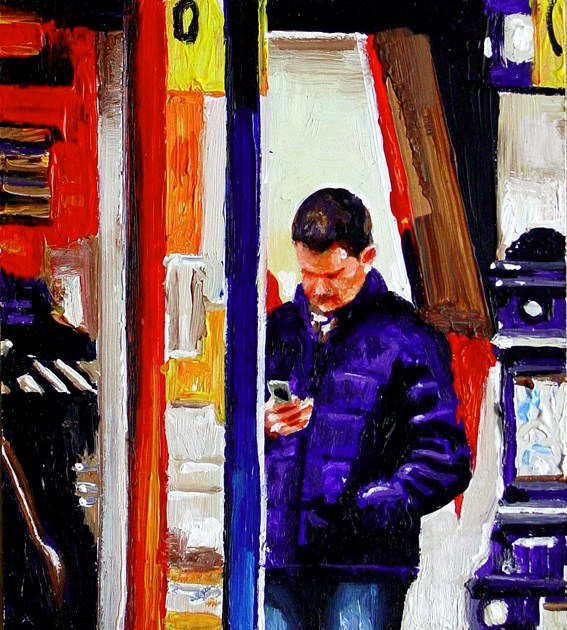 """""""Textmessage- Street Scene Painting Of A Guy Sending A Textmessage In Amsterdam"""" original fine art by Gerard Boersma"""