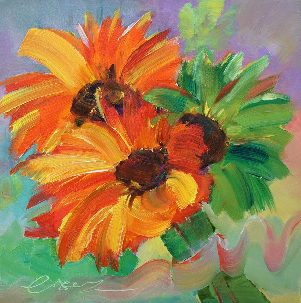 """Sunflowers for Christmas"" original fine art by Lisa Fu"