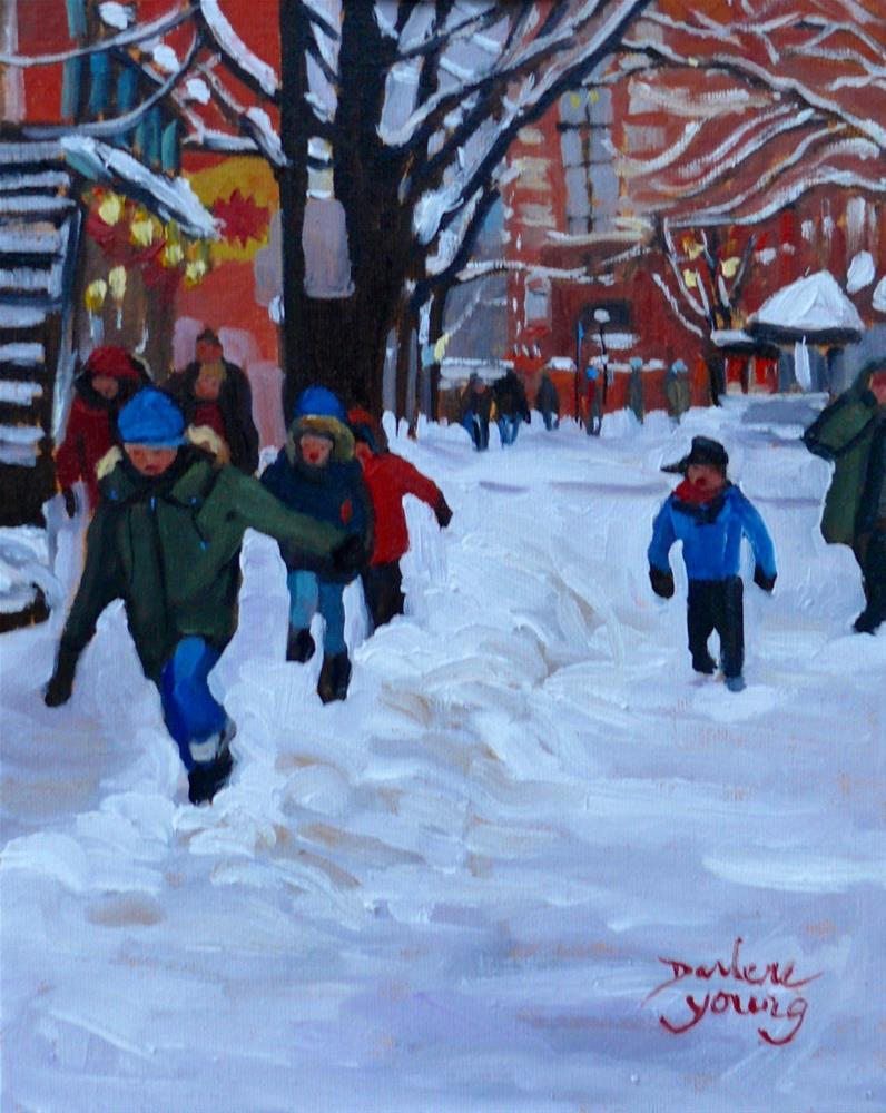 """918 Le Plateau Mont Royal Scene, oil on board, 8x10"" original fine art by Darlene Young"