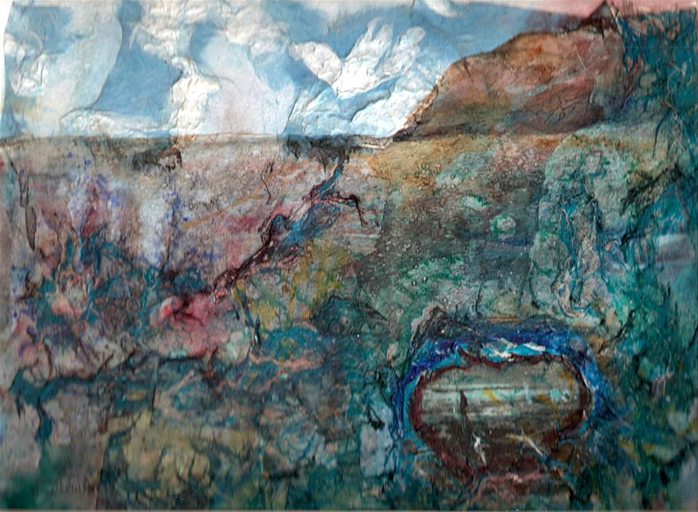 """""""9x12 Abstract Rice Paper Watercolor Collage Mixed Media by Penny StewArt"""" original fine art by Penny Lee StewArt"""