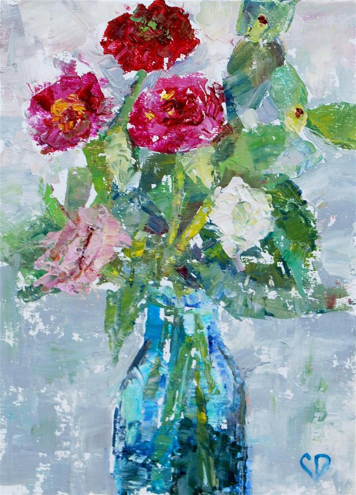"""Zinnias"" original fine art by Carol DeMumbrum"
