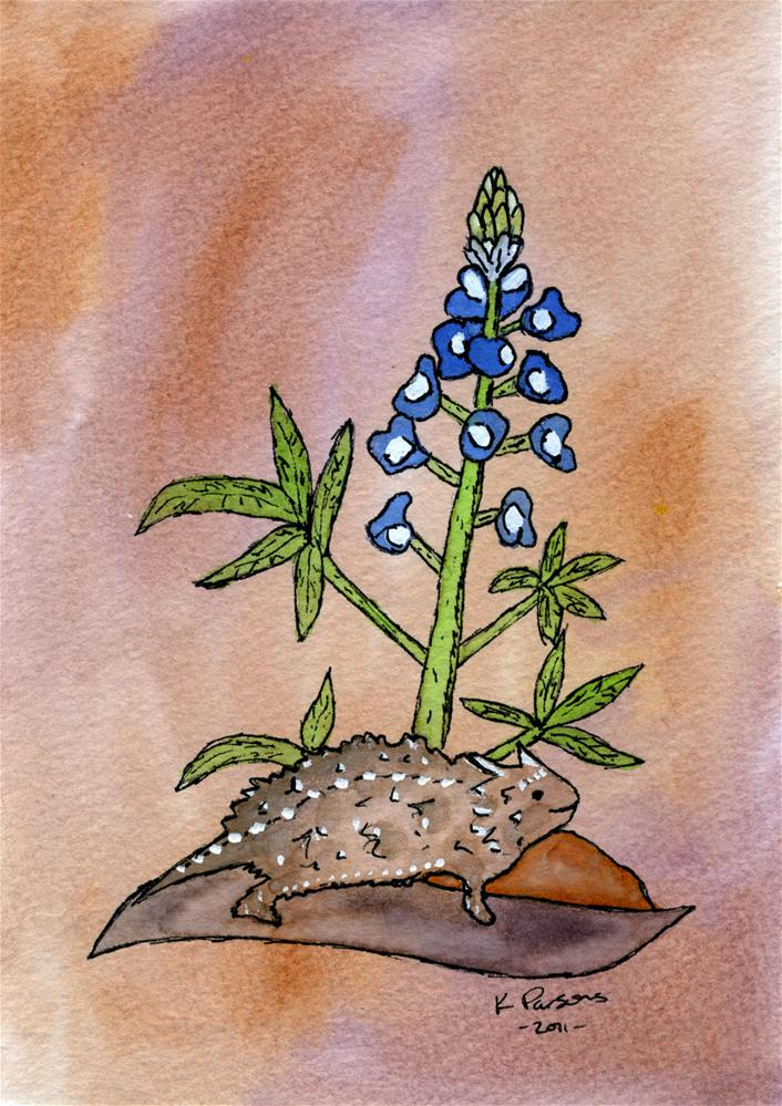 """""""Horned Toad and a Bluebonnet"""" original fine art by Kali Parsons"""