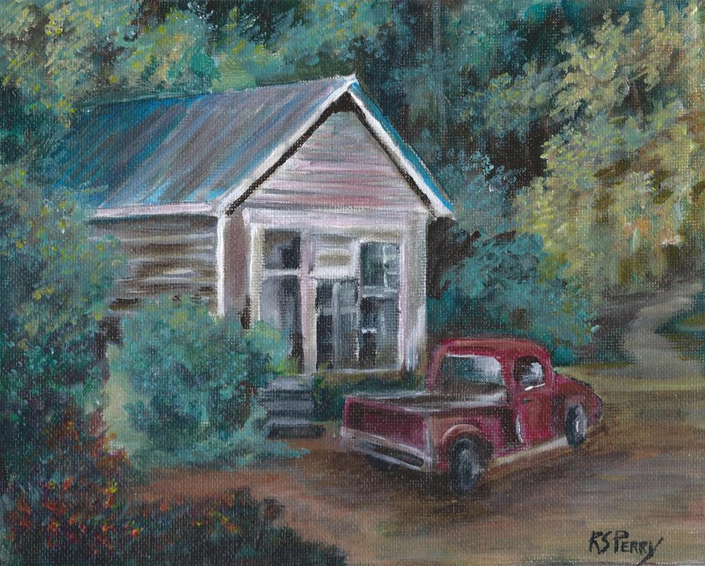"""""""Red Truck"""" original fine art by R. S. Perry"""