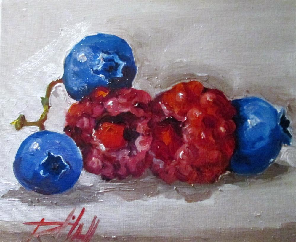 """""""Raspberries and Blueberries"""" original fine art by Delilah Smith"""