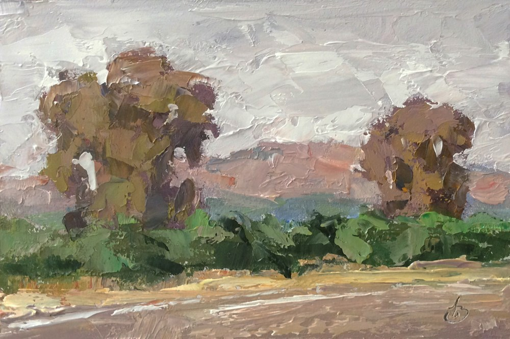 """EDGE OF THE ORANGE GROVE"" original fine art by Tom Brown"